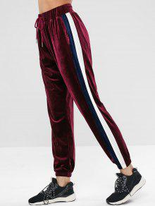 ZAFUL Striped Velvet Drawst Jogger Pants - نبيذ احمر S