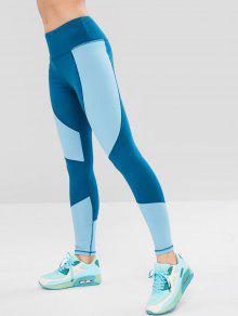 لون كتلة عريض زنار رياضة طماق - الحرير الأزرق S