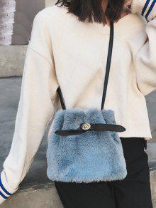 59babf533 33% OFF] 2019 Bucket Faux Fur Crossbody Bag In BLUE GRAY   ZAFUL