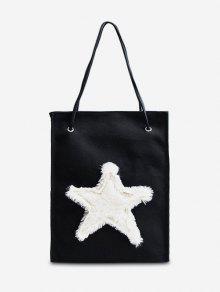 حقيبة كتف نسائية مزينة بنجمة - أسود