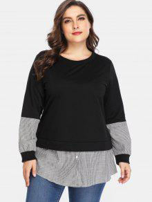 Striped Panels Plus Size Tunic Sweatshirt - أسود 2x