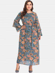 الأزهار جرس كم زائد حجم فستان ماكسي - الطاووس الأزرق 5x