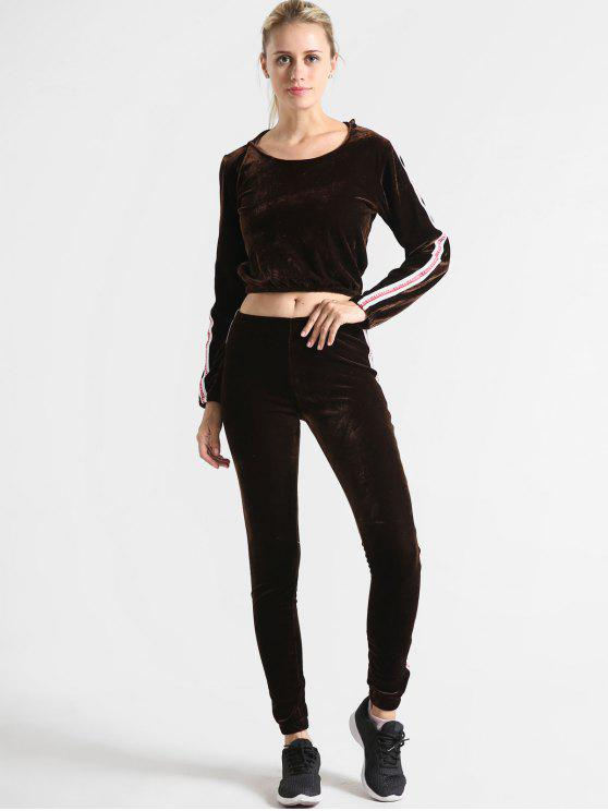 women Velvet Graphic Hoodie And Pants Set - DEEP BROWN M