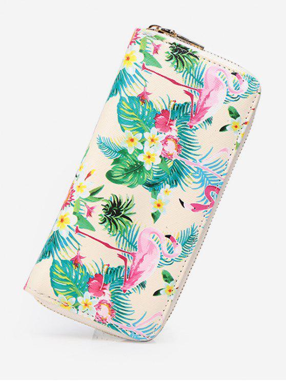 Flamingo Print Zip Around Brieftasche - Warmweiß