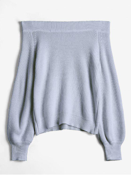 womens Off The Shoulder Lantern Sleeve Pullover Sweater - GRAY ONE SIZE