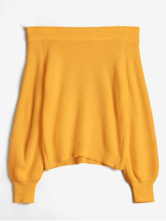 women Off The Shoulder Lantern Sleeve Pullover Sweater - ORANGE GOLD ONE SIZE