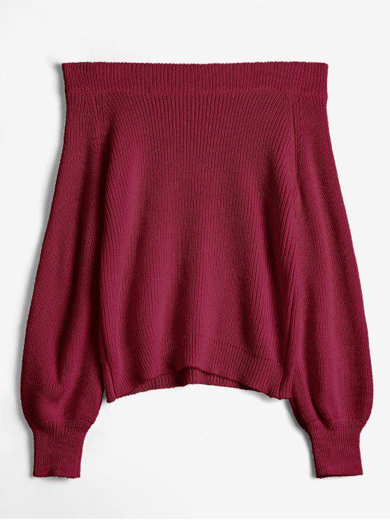 shops Off The Shoulder Lantern Sleeve Pullover Sweater - FIREBRICK ONE SIZE