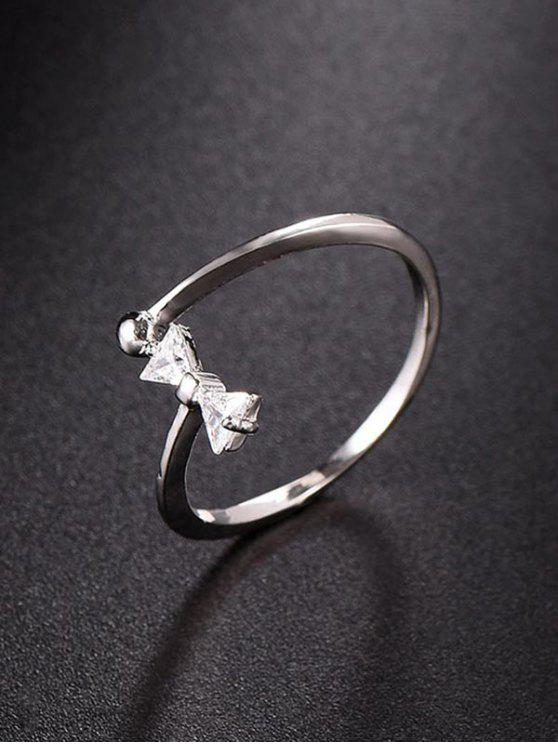 hot Bow Design Rhinestone Open Ring - SILVER