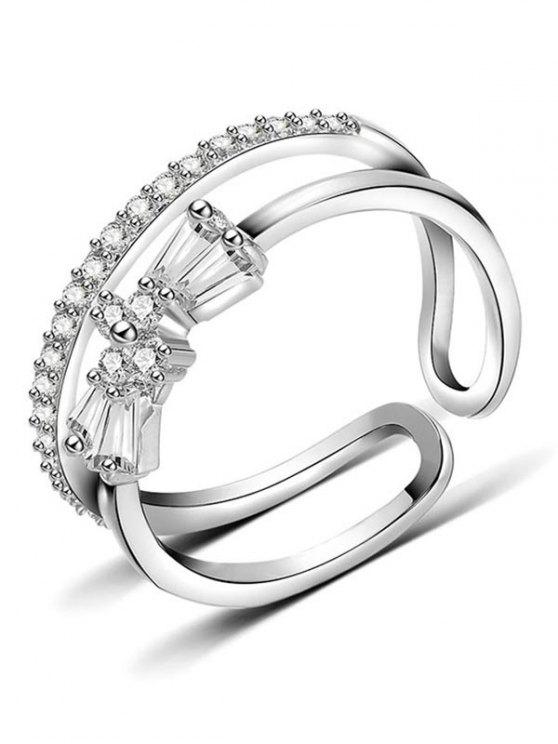 outfits Hollow Bowknot Artificial Diamond Cuff Ring - SILVER