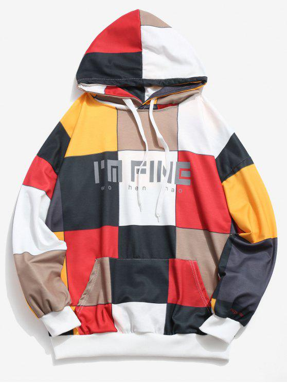 affordable Square Color Block Letter Pocket Hoodie - MULTI-B XL