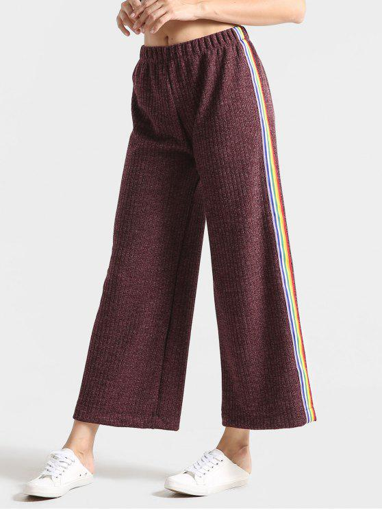 affordable Heathered Ribbed Stripes Wide Leg Pants - DULL PURPLE M