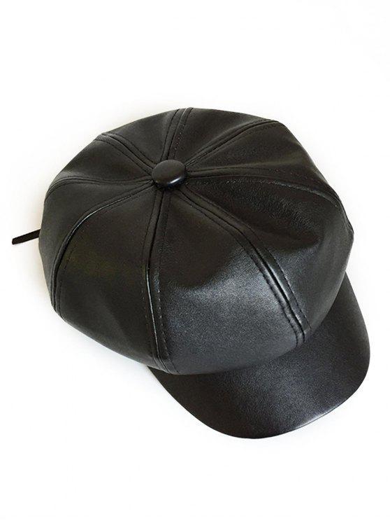 new Vintage PU Leather Newsboy Cap - BLACK