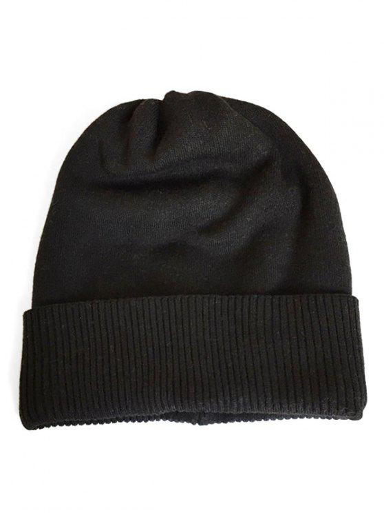 outfit Solid Color Flanging Knitted Winter Beanie - BLACK