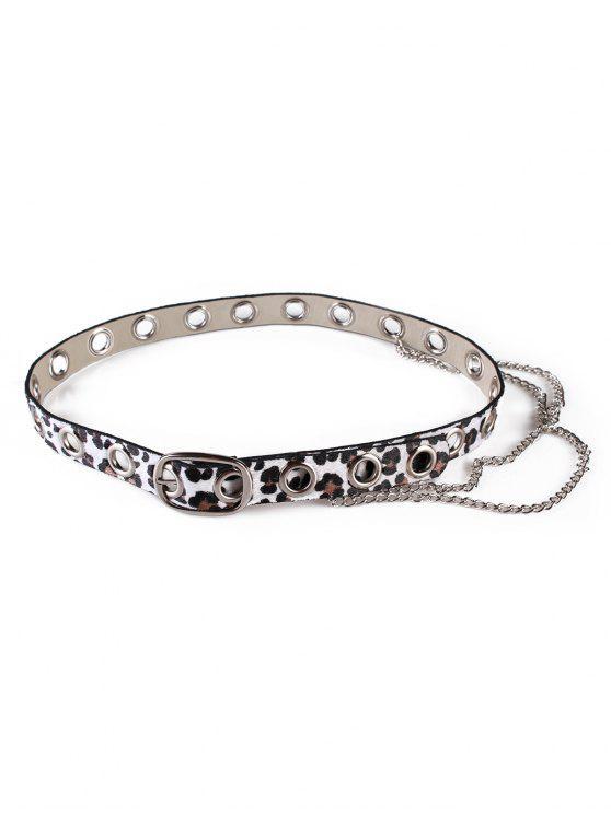 fancy Leopard Print Rivets Chain Belt - WHITE