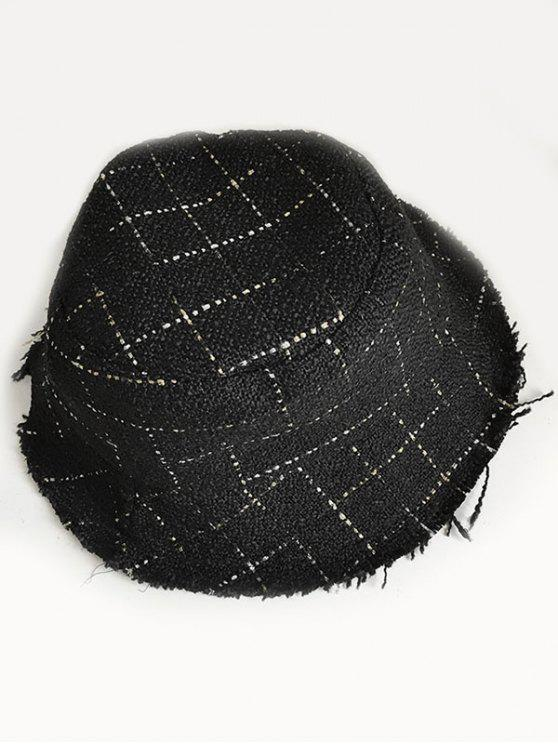 womens Outdoor Plaid Fisherman Hat - BLACK