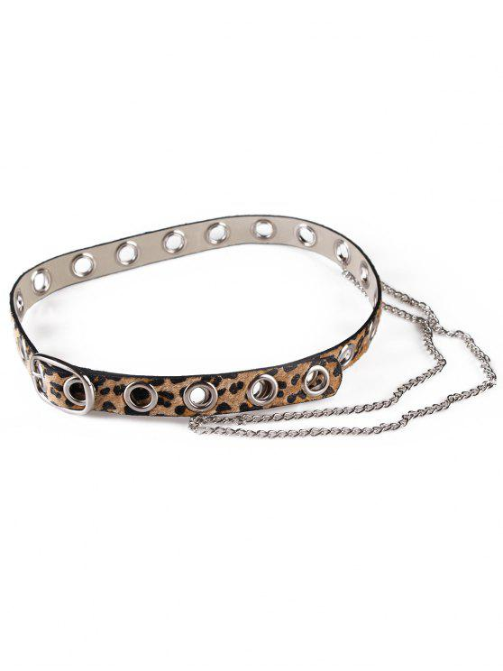 best Leopard Print Rivets Chain Belt - CAMEL BROWN