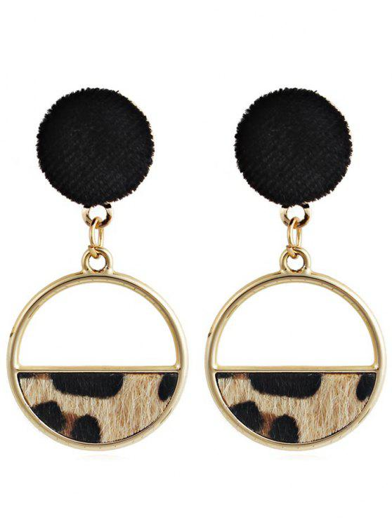 hot Hollow Out Round Leopard Drop Earrings - LIGHT BROWN