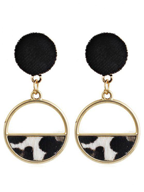 latest Hollow Out Round Leopard Drop Earrings - WHITE