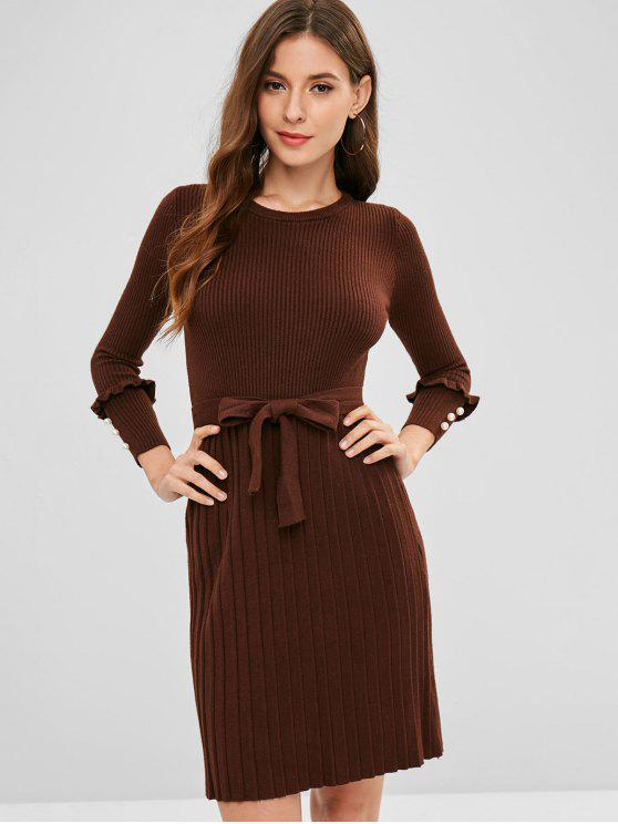 online Ribbed Beaded Sweater Dress - COFFEE ONE SIZE