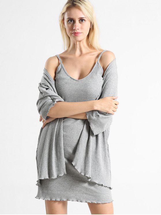 Geripptes Kleid und Open Front Cardigan Set - Graue Wolke Eine Größe