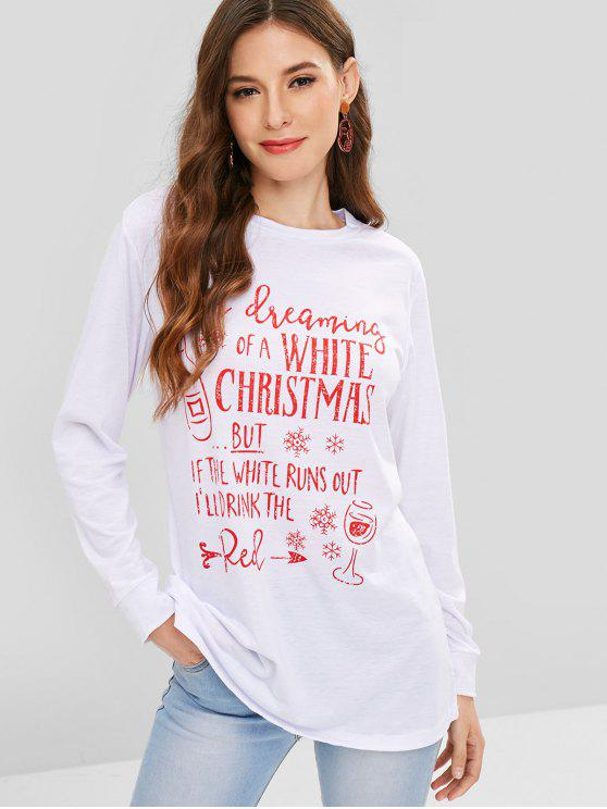 Buchstabe-Grafik-Weihnachtslanges T-Stück - Weiß M