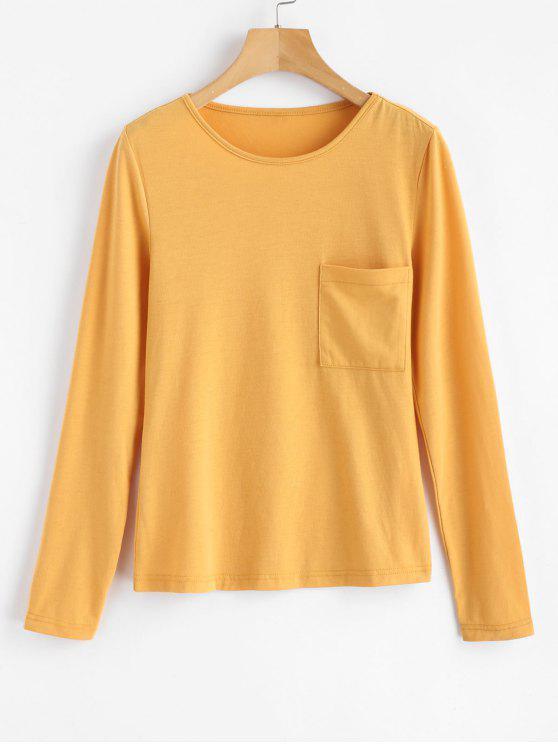 Patch-Tasche Langarm-Jersey-T-Shirt - Dunkel Gelb L