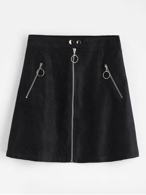 Zip Up A Line Skirt   Black S by Zaful