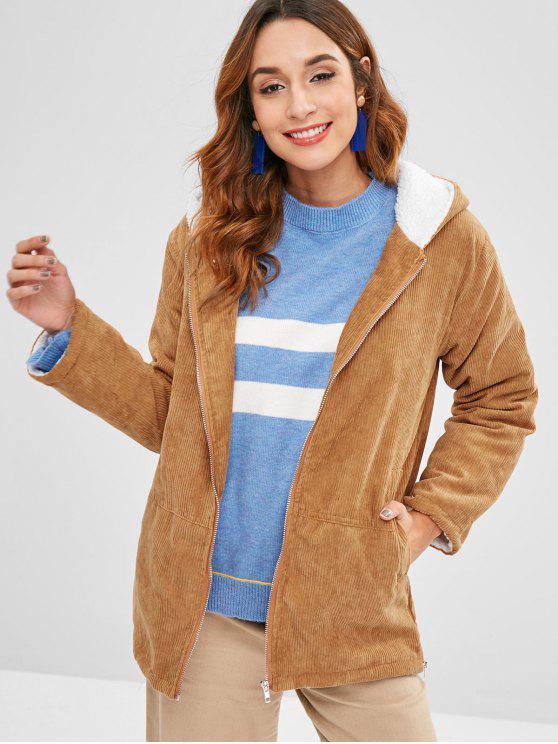 sale Hooded Fleece Lining Corduroy Coat - LIGHT BROWN L