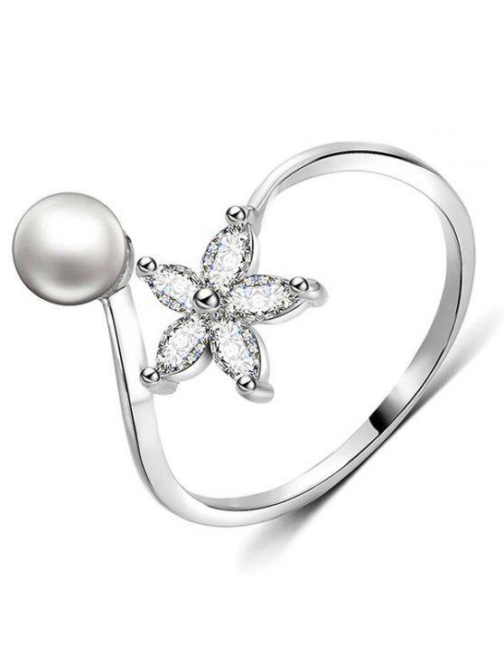 women's Artificial Pearl Rhinestone Flower Cuff Finger Ring - SILVER