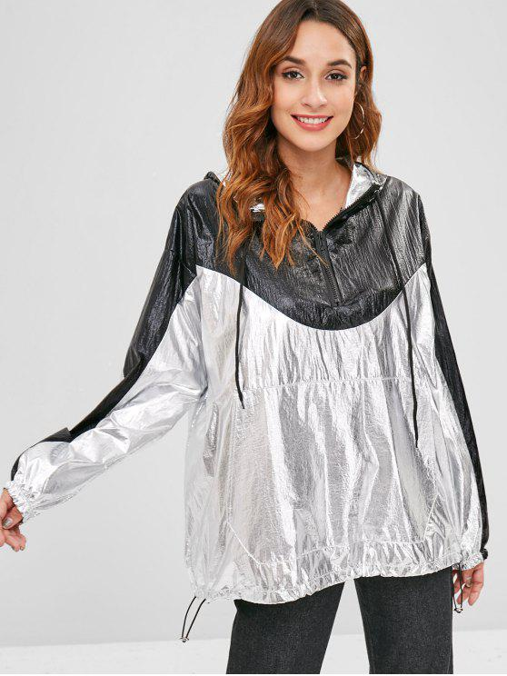 unique Front Pocket Metallic Oversized Hoodie - SILVER ONE SIZE