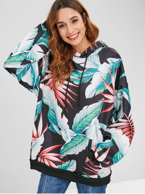 Tropischer Oversized Hoodie mit Blattdruck - Multi Eine Größe