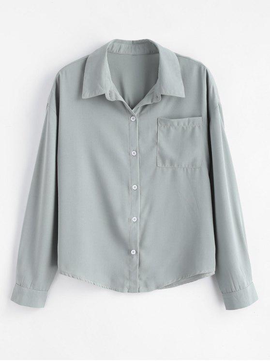 Fronttasche Drop Schulter Shirt - Dunkelgrau M