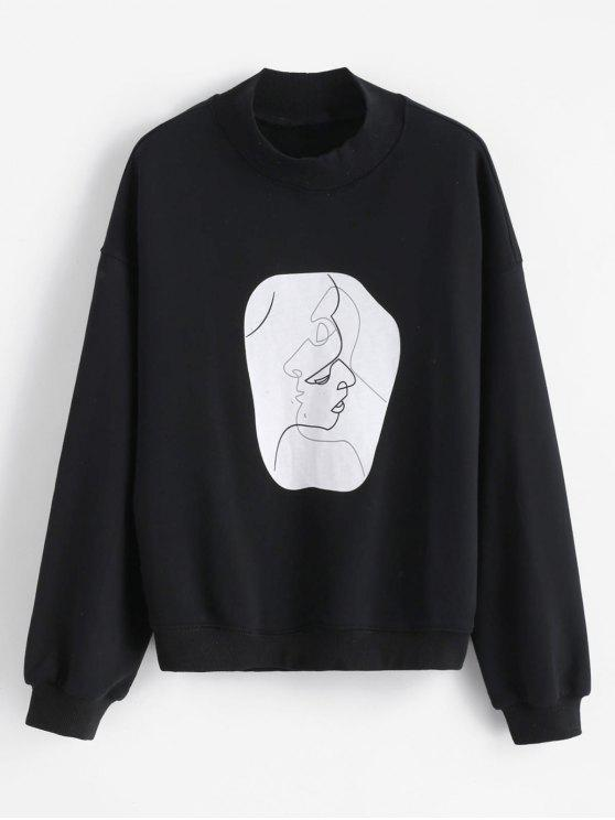 Face Graphic Mock Neck Sweatshirt - Schwarz XL