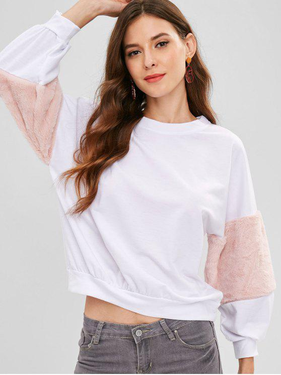 Kunstpelz-Panels Sweatshirt - Weiß S