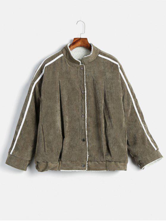 trendy Buttoned Side Striped Sheepskin Coat - ARMY GREEN M