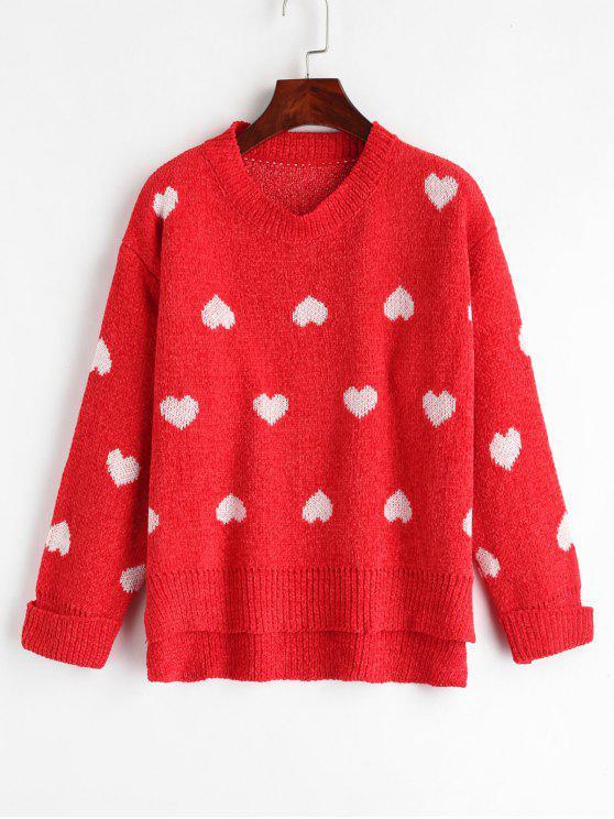 Cuffed Heart Graphic Sweater - Rot Eine Größe