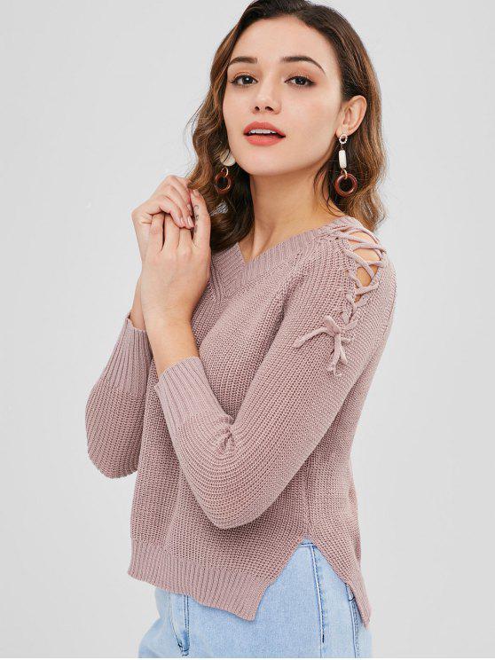 V-Ausschnitt High Low Lace Up Pullover - Glyzinie Lila Eine Größe