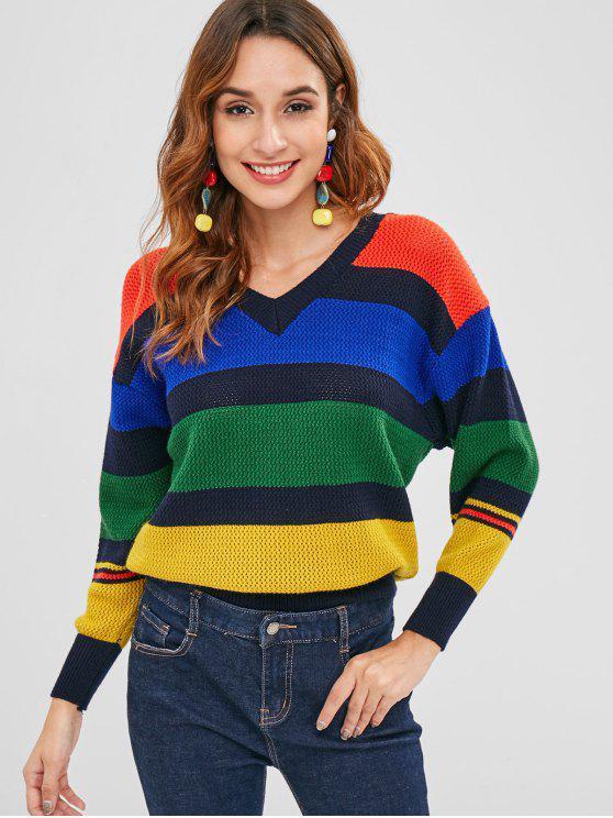 Durchbrochener Farbblock-Pullover - Multi-A Eine Größe