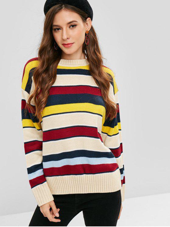 women's Drop Shoulder Colored Striped Sweater - MULTI ONE SIZE