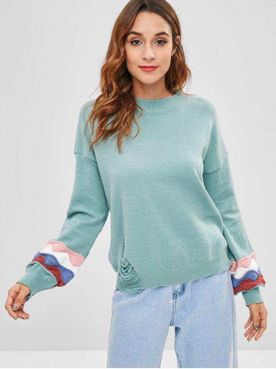 Color Block Distressed Pullover - Helles Grünliches Blau Eine Größe