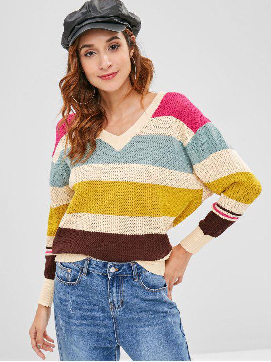 Durchbrochener Farbblock-Pullover - Multi-B Eine Größe
