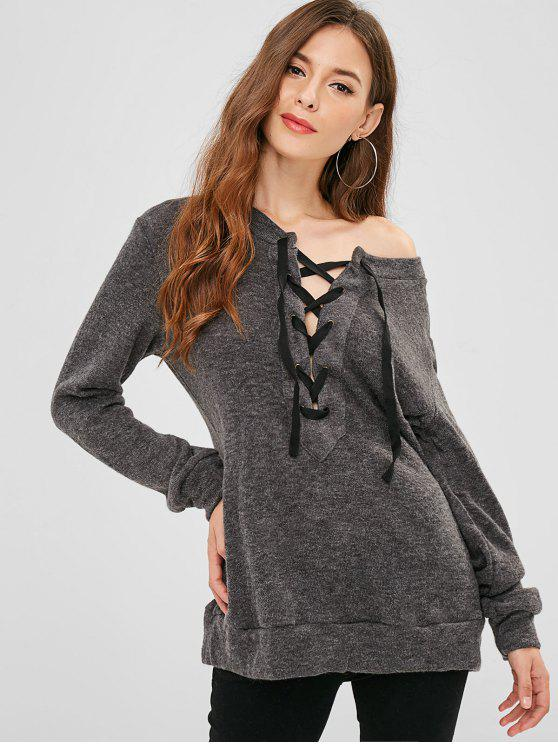 Lace Up Plain Longline Pullover - Dunkelgrau XL