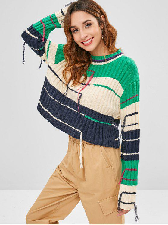 Вязаный вязаный вязаный свитер - Многоцветный Один размер