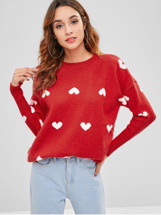 Hearts Graphic Tunika lose Pullover - Rot Eine Größe