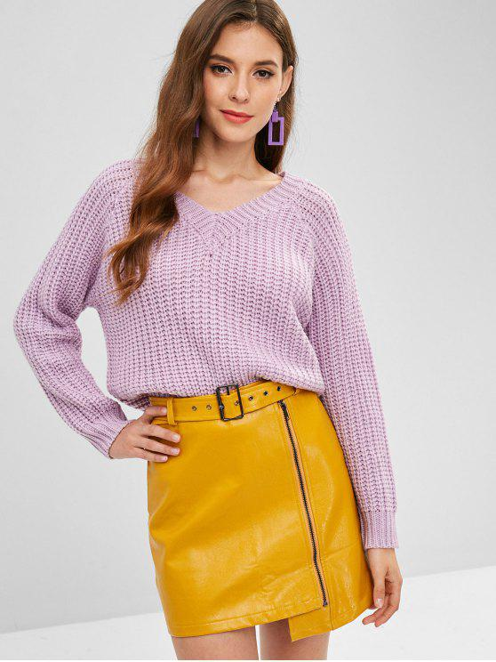 lady ZAFUL V Neck Chunky Sweater - WISTERIA PURPLE ONE SIZE