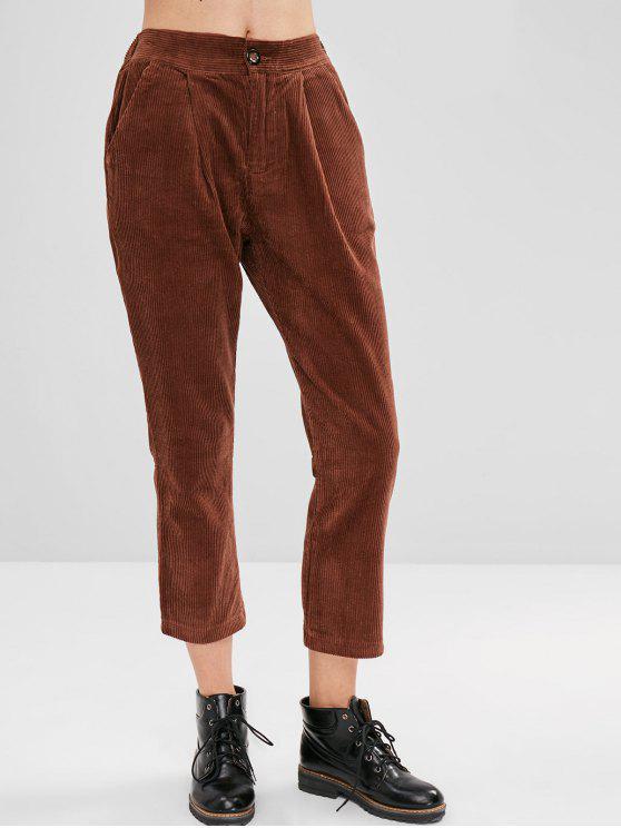 Pantaloni Di Velluto A Coste Con Cerniera E Tasca - marrone chiaro XL
