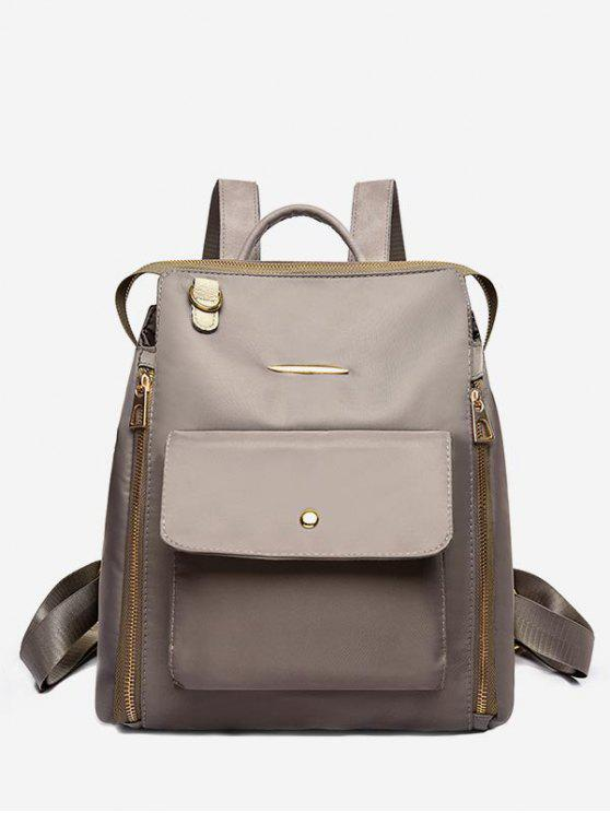 new Nylon Zip Pockets School Backpack - KHAKI