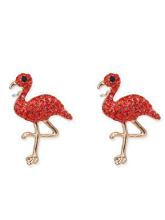 Orecchini A Forma Di Uccello Intarsiato Con Strass Brillanti - Rosso