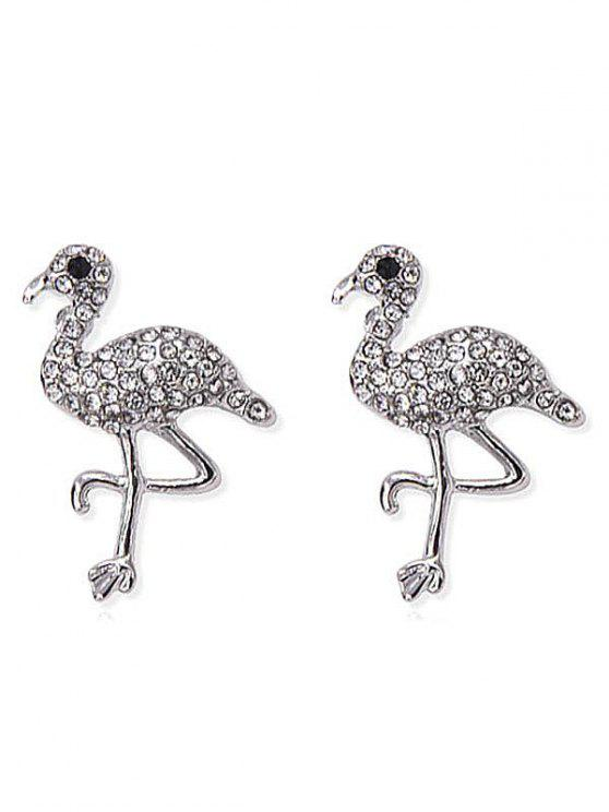 Pendientes de aves con incrustaciones de diamantes de imitación brillante - Plata
