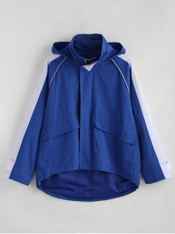 outfit Color Block Pockets Windbreaker Jacket - BLUE L